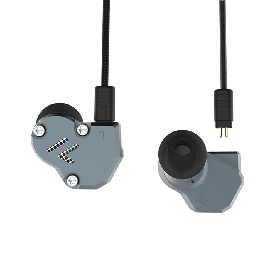 安価な中級トレードRevoNext QT2 着脱式イヤホン 2PIN 3.5MM カナル型 2DD+1BA ハイブリッド イヤホン カナル型 高音質 高遮音性 重低音 中華イヤホン アルミ合金製 イヤフォン 1基バランスド?アーマチュア&2基ダイナミックを搭載 Kinboofi (グレー マイク無し)