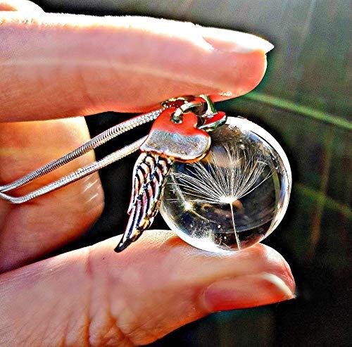 Regalo per la festa della mamma Catena in argento sterling cuore d'oro rosa collana di tarassaco ciondolo ala d'angelo - pendente dent di leone gioielli commemorativi
