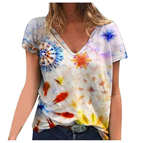 Zegeey 3D T-Shirt Damen Oberteile Sommer Kurzarm Blusen Blumen Sonnenblume Libelle Kolibri Drucken V-Ausschnitte Loose Oversize Shirt Vintage Drucken Tee Tops Frauen Bluse Tops Lässig