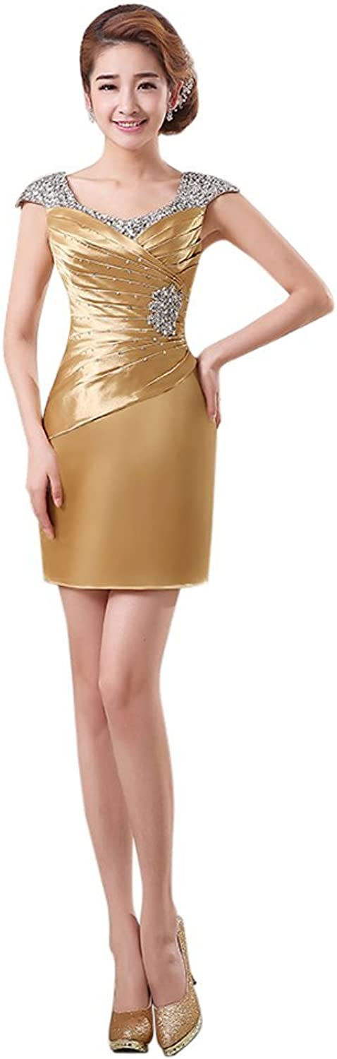 Drasawee Women's Short Satin Sequins Homecoming Dress Wedding Party Gowns gold US8