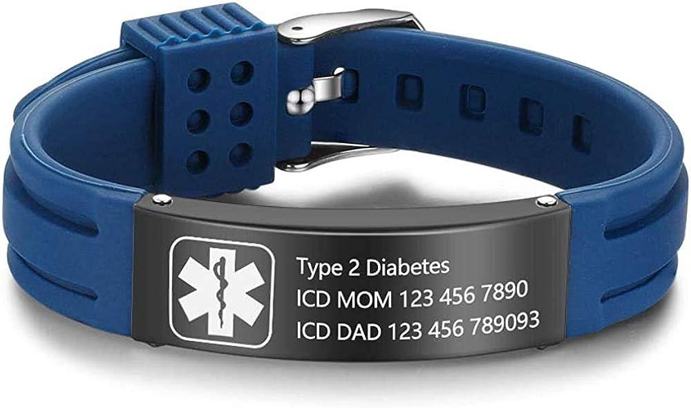 Personalized Medical Alert Bracelets for Men Women Adjustable Silicone Custom Name Emergency ID Bracelets Waterproof Bracelet for Boy Girl