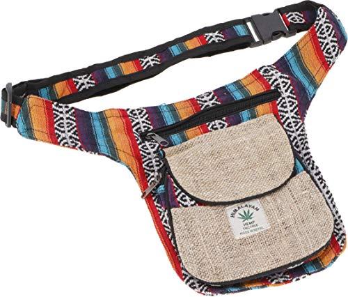 GURU SHOP Hanf Ethno Sidebag, Nepal Gürteltasche - Modell 2, Herren/Damen, Beige, Baumwolle, Size:One Size, 30x20 cm, Festival- Bauchtasche Hippie