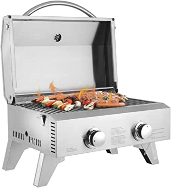 ROVSUN Portable Propane Gas Grill, 20,000 BTU Tabletop Grill Outdoor Cooking Stove with Foldable Legs,Regulator, 2 Burner Stainless Steel for Picnic Camping Trip, Tailgating, Patio Garden BBQ Home Use