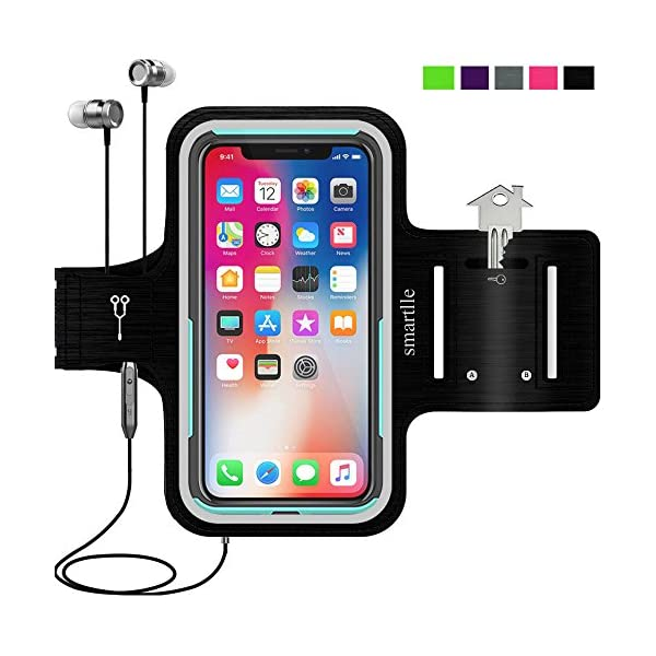 smartlle Water Resistant Cell Phone Armband: 4.7 Inch Case for iPhone 8, 7, 6, 6S, SE, and Galaxy S5, Google Pixel – Adjustable Reflective Velcro Workout Band, Key Holder
