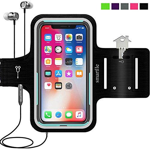 Smartlle Sportarmband für iPhone X XR XS, Samsung Galaxy S9 S8 S7 S6 Edge, LG G6 V30, Google Pixel 2 3, Huawei Mate 10 P20, Running, Workout & Joggen Laufen Armband - Handyhalter Case(schwarz)