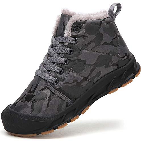 Botas de Invierno para Niño Niña Zapatos de Nieve Botines Calzado Calentar Forrada Boot,Gris,35