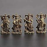 JONJUMP Cobre cuatro policiales God Buda Estatua Llaveros Colgantes Pequeños Adornos Lucky Home Decor Decoraciones de Escritorio