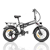 PASELEC Electric Bike for Adults,Folding Electric Bicycle, Mountain Ebike with 500w Motor, 4.0 Fat Tire Ebike, 10.4Ah Removable Battery, Shock Absorption, 7-Speed,Disc Brakes (Black)