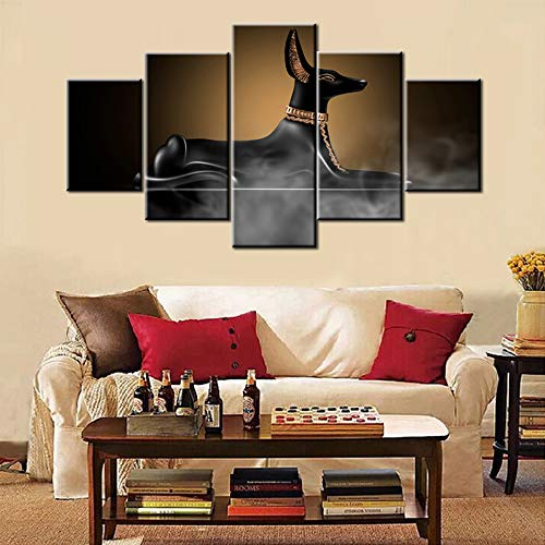 5 Pieces Modern Painting Egypt Black Cats Pictures Dark Room with Smoke Wall Art for Living Room God of Death Artwork Abstract House Decor Giclee Framed Ready to Hang Posters and Prints(60''Wx32''H)