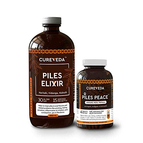 Cureveda™ Herbal Combo Of Piles Elixir Syrup (450 ml) & Piles Peace (60 tabs) For Digestive Health