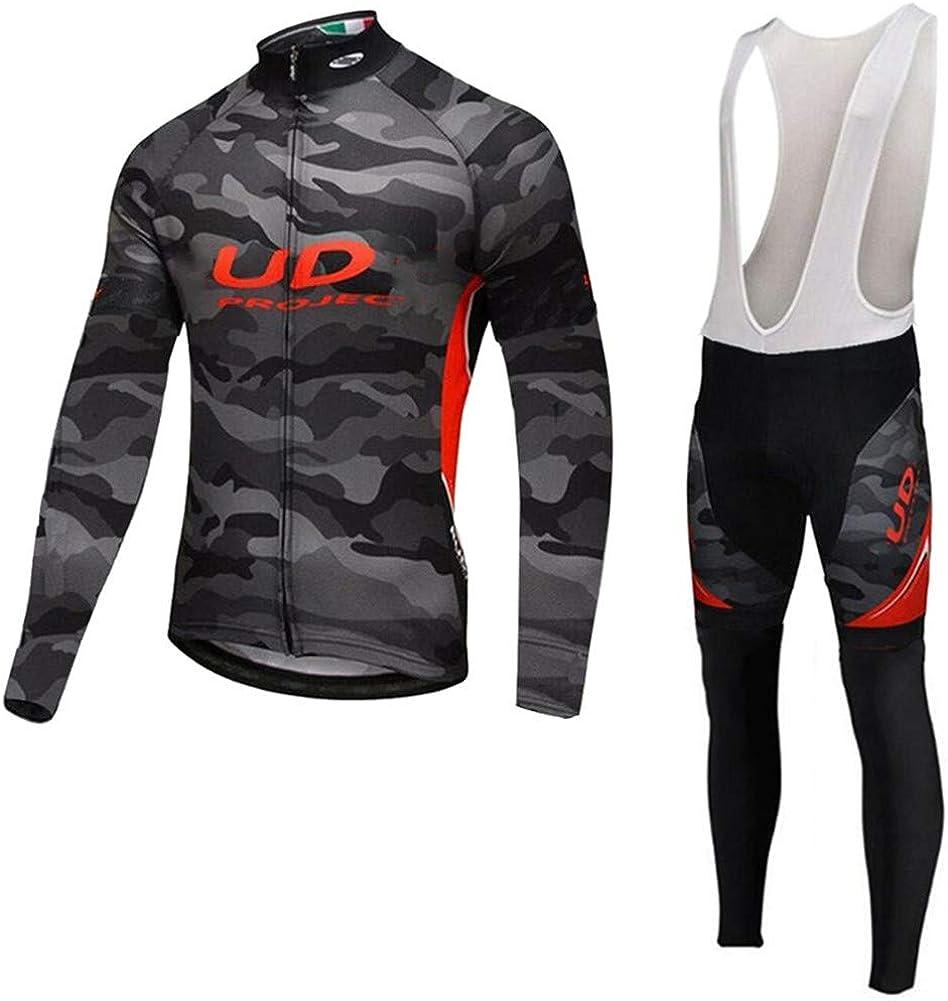 YFFS Herren Langarm Radsportanz/üge Radtrikot Set Radfahren Kleidung Gef/ütterte Mountainbike Mit 3D-Gel Gef/ütterte Hose Fahrradbekleidung