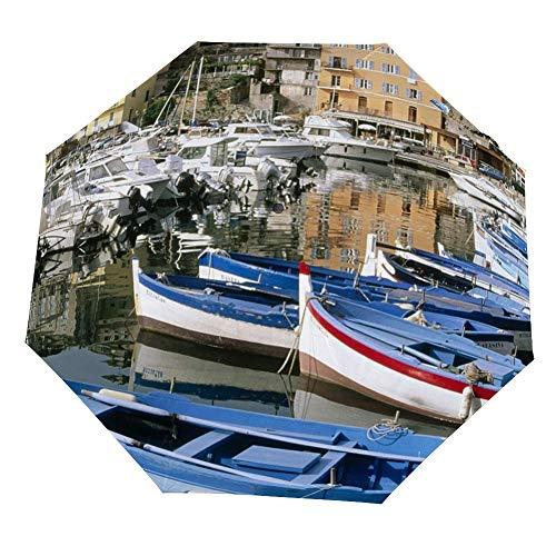 Reisparaplu - Corsica Harbour Houses Boten Winddicht, Ergonomisch Handvat, Auto Open/Klapbaar Paraplu