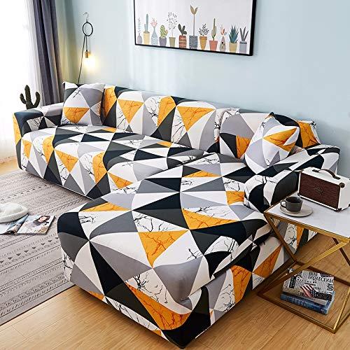 PPMP Funda de sofá geométrica Flexible para Sala de Estar Funda de sofá con Todo Incluido combinación de sofá Modular de Esquina en Forma de L A9 2 plazas