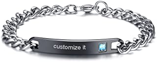 MEALGUET Personalized Gift Custom Engraving His Hers Couples Stainless Steel Nameplate Bar Bracelets Set for Men Women