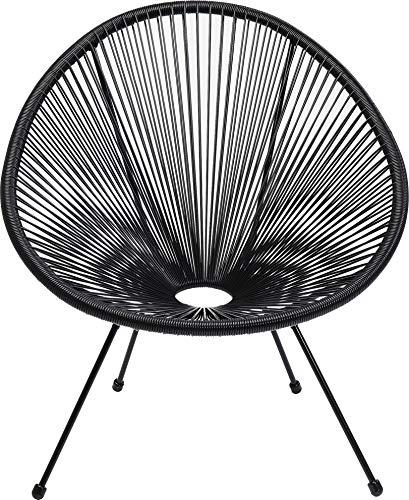 Kare Design Sessel Acapulco Schwarz, moderner Acapulco Sessel, Gartenstuhl, Outdoorstuhl, Relaxsessel, Stuhl, Wetterfest, XXL Retro Chillsessel Outdoorgeeignet (H/B/T) 85x73x78cm