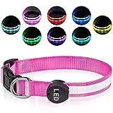 Plartree Collar de Perro LED Recargable USB, Collar con Luz Intermitente Impermeable Collares de Perro Ajustables 8 Colores para Perros Medianos/Grandes