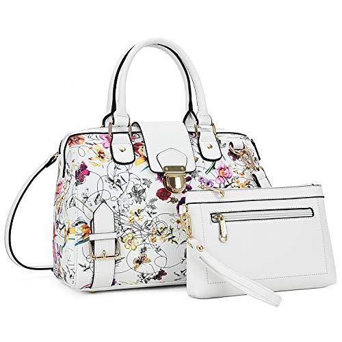 Dasein Women Barrel Handbags Purses Fashion Satchel Bags Top Handle Shoulder Bags Vegan Leather Work Bag Tote (White Flower)