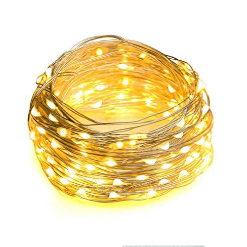 DZHT 5-10m USB LED Árbol De Navidad Año Nuevo Guirnalda Luces De Hadas Linterna Cadena De Luces Para Exterior Ventana Familiar Decoración De Boda (Color : Warm white)
