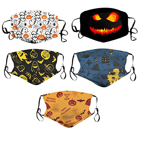 Kids Reusable Face Covering, 6pcs Halloween Pumpkin Adjustable M.ask, Pattern Cloth M.ask for Kids Ages 3-12