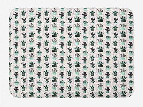 MMPTN Blumenbadematte Sukkulenten und Zimmerpflanzen in Vasen von Hand gezeichnet Plüsch Badezimmer Dekor Matte mit Rutschfester Rückseite 15,7