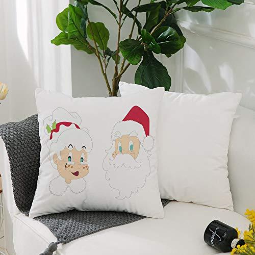 Fundas Cojines de Poliéster -50x50cm,Sr. Sra., Sr. y Sra. Papá Noel Habitantes del Polo Norte Person,Fundas de Almohada Decoración con Cremallera Invisible para Sala de Estar, sofá, Dormitorio o Coche