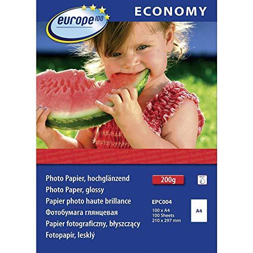 Europe100 EPC004 fotopapier (A4, hoogglanzend, 200 g/m2, 100 vellen) wit