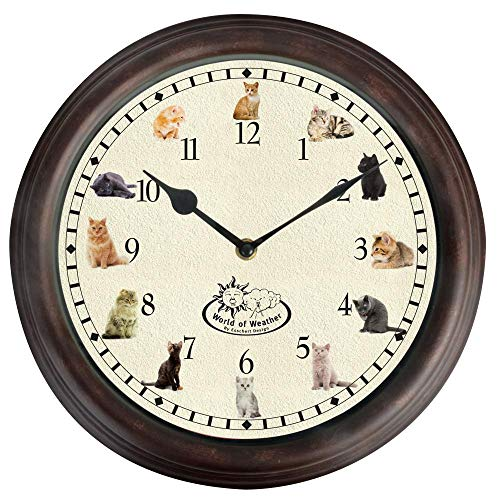 Esschert Design Cat Sounds Wall Clock - Round Battery Operated Meowing Cat Clock