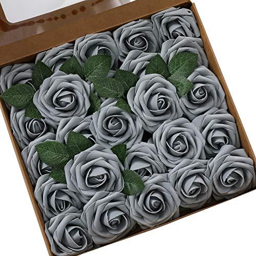 Künstliche Rosen Blumen Schaumrosen Foamrosen Kunstblumen Rosenköpfe Gefälschte Kunstrose Rose DIY Hochzeit Blumensträuße Braut Zuhause Dekoration (25 Stück, Grau)