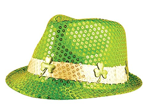 Islander Fashions Adult Irish Pailletten Gangster Hut mit Shamrock ST Patricks Day Fancy Zubeh�r Einheitsgr��e