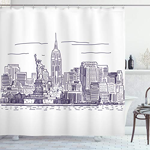 """Ambesonne New York Shower Curtain, Sketchy Simple View of NYC of Liberty Freedom Ellis Island Print, Cloth Fabric Bathroom Decor Set with Hooks, 70"""" Long, Purple White"""