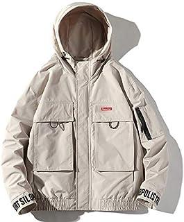 HAWEEL Hooded Loose Casual Coat Embroidery Tooling Jacket for Men Windbreaker Jacket
