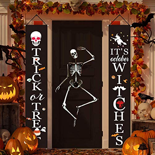 Halloween Outdoor Indoor Decoration Trick or Treat Halloween Hanging Banner Set Welcome Sign for Front Porch Gate Garden Home Party