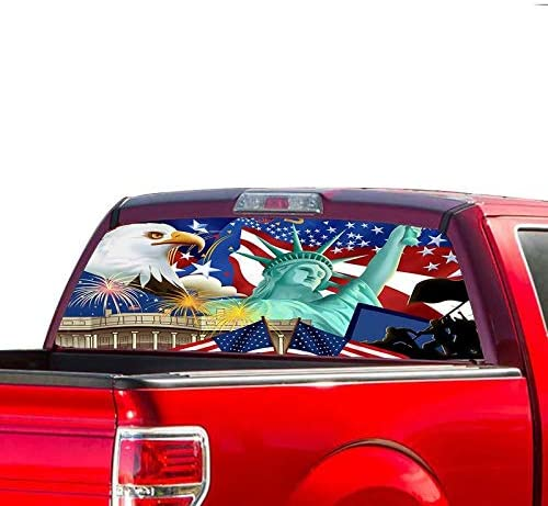 Gold Fish Decals 5☆好評 無料 Rear Window Perforated USA Graphic Thru See Dec
