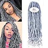 MSBELLE 6 Packs/lot Soul Goddess Locs Synthetic Twist Crochet Braids Hair with Curly Ends Goddess Faux Locs Crochet Braiding Hair Extensions Grey Color