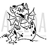 Azeeda A4 'Baby-Drache' Wandschablone / Vorlage (WS00021399)