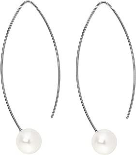 Heideman Ohrringe Damen Auris aus Edelstahl silber farbend matt Ohrstecker hängend für Frauen Swarovski Perle weiss/farbig rund 10mm