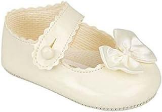 Scarpine da neonata con chiusura a bottone, in tela verniciata, per feste di matrimonio o di battesimo