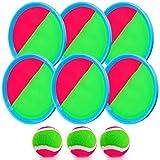 Weokeey Juego de Pelota para Niños, Juego de Bolas de Atrapar con 6 Paletas & 3 Pelotas Juegos de Exterior para Niños Impermeable Pelotas de Playa para Patio, Jardín, Interior & Exterior