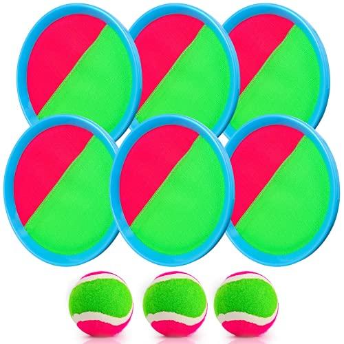 Weokeey Klettballspiel für Kinder, Klettball Set mit 6 Paddles und 3 Bällen Wasserdicht Klettball Spiel Klettspiel wurf Spiel für Hinterhof, Garten, Innen und Außen