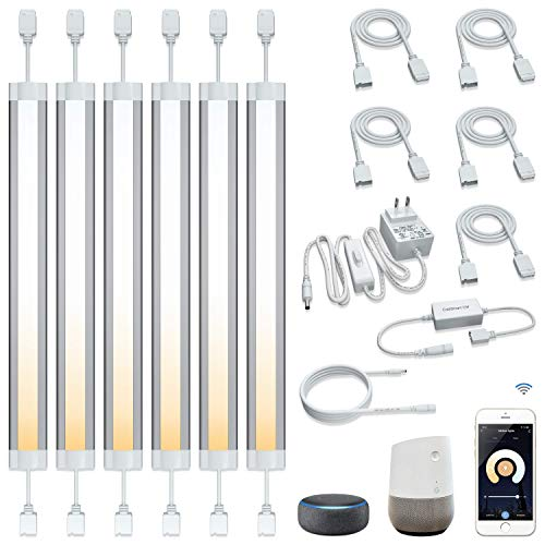 LED Smart Under Cabinet Lights Work with Alexa,Siri, Echo, Google Home (No Hub Required), 2700K to 6500K for Kitchen Under Counter, Bookcase or Display Cabinet(6 Lights Bar Kit)