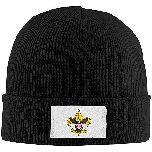 Skull Caps Boy Scout Emblem Sombreros de Invierno cálidos de Punto, Gorro elástico Beanie Hat Negro