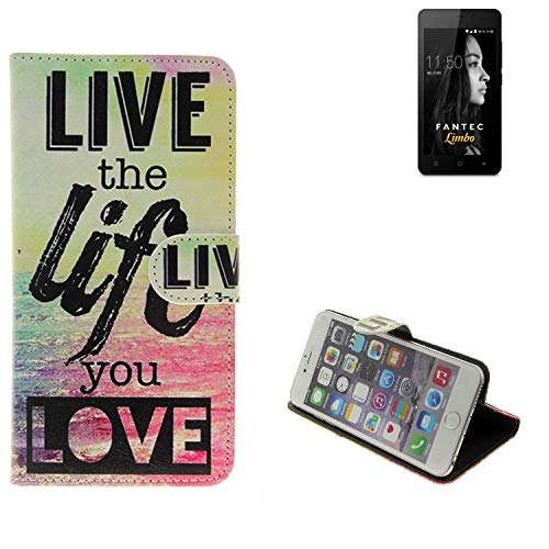 K-S-Trade® Schutzhülle Für FANTEC Limbo- Schutz Hülle 360° Wallet Case ''live Life Love'' Schutzhülle Handy Tasche Handyhülle Etui Smartphone Flip Cover Standfunktion (1x)