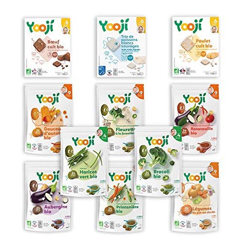 Yooji - Panier Légumes Viandes et Poissons Bio pour le Repas de Bébé de 9 à 12 Mois - Alimentation Saine et Équilibrée - Saveur Viandes Poissons Légumes pour 30 Repas