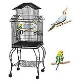 Yaheetech Cage Oiseaux sur roulettes Perroquet Canari Exterieur 59 x 59 x 139,5 cm avec Support détachable