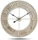 Reloj de Pared Intemperie Exterior Reloj de Jardín Vintage Grande de 60CM Adornos Decorativos Silenciosos Creativos Reloj de Decoración de Terraza Patio del Dormitorio de Sala de Estar Hogar