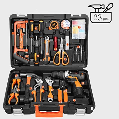 GAOJUNMEI 23-teiliges Werkzeug-Set - Allgemeiner Haushalts-Handwerkzeugsatz mit Kunststoff-Toolbox-Speicher-Fall (Ideal for DIY-Projekte) lili