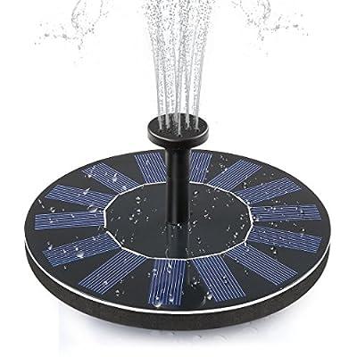 ADDTOP Solar Fountain, Solar Powered Bird Bath Fountain Pump Floating Solar Water Pump Kit Fountains for Garden, Pond, Pool, Fish Tank, Aquarium - Upgraded 8 Nozzles