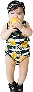 Oufenli✧Newborn Infant Girl Sleeveless Romper Lemon Printed Jumpsuit Bodysuit Baby Summer Clothes Outfits
