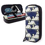 Pttern con Swan On Blue Estuche portátil para lápices Bolso de cuero lindo Bolso de escritorio Organizador de escritorio con cremallera Porta bolígrafos de gran capacidad