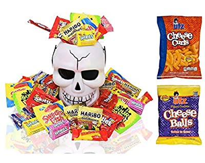 Halloween Gifts Skull White Bucket with Filled Assorted Candies 1.5 Lbs. - Great Candy Basket Treats for Kids, Girls, Boys, Child, Toddler and College Students